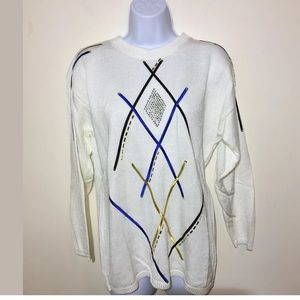 Womens Vintage Sweater Large White Blue Black A231